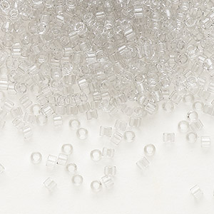 seed bead, delica, glass, transparent crystal grey ice, (db1408), #11 round. sold per pkg of 250 grams.