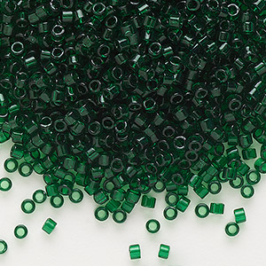 seed bead, delica, glass, transparent emerald green, (db713), #11 round. sold per 7.5-gram pkg.