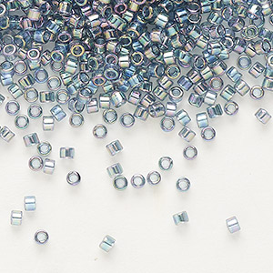 seed bead, delica, glass, transparent glazed luster rainbow light grey, (db111), #11 round. sold per 250-gram pkg.