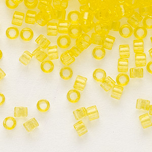 seed bead, delica, glass, transparent light yellow, (db1301), #11 round. sold per 250-gram pkg.
