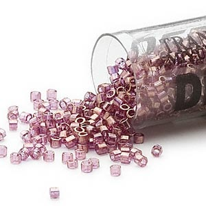 seed bead, delica, glass, transparent luster amethyst purple, (db108cut), #11 cut. sold per 7.5-gram pkg.