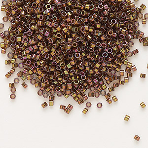 seed bead, delica, glass, transparent luster rainbow rust, (db126), #11 round. sold per pkg of 250 grams.