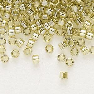 seed bead, delica, glass, transparent luster yellow-green, (db124), #11 round. sold per 7.5-gram pkg.