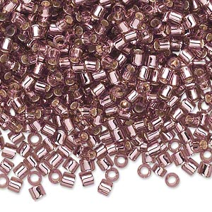 seed bead, delica, glass, transparent silver-lined smoky amethyst purple, (dbl146), #8 round, 1.5mm hole. sold per 250-gram pkg.