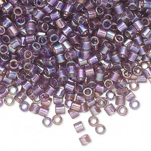 seed bead, delica, glass, transparent smoky amethyst purple rainbow, (dbl173), #8 round, 1.5mm hole. sold per 7.5-gram pkg.