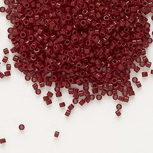 seed bead, delica, opaque currant, (db1134), #11 round. sold per 7.5-gram pkg.
