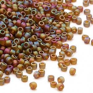 seed bead, dyna-mites™, glass, frosted translucent rainbow root beer, #11 round. sold per 1/2 kilogram pkg.