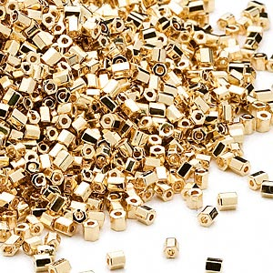 seed bead, dyna-mites™, glass, opaque 24kt gold-plated, #11 hex 2-cut. sold per 40-gram pkg.