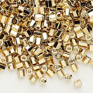 seed bead, dyna-mites™, glass, opaque 24kt gold-plated, #6 hex 2-cut. sold per 40-gram pkg.