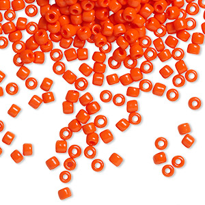 seed bead, dyna-mites™, glass, opaque dark orange, #8 round. sold per 40-gram pkg.