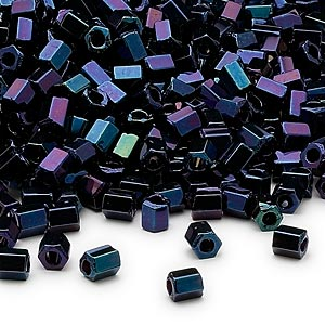 seed bead, dyna-mites™, glass, opaque iris blue, #6 hex 2-cut. sold per 1/2 kilogram pkg.