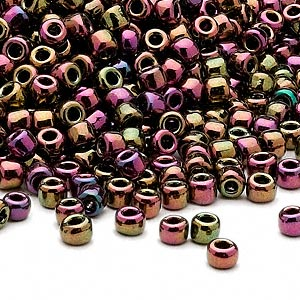 seed bead, dyna-mites™, glass, opaque iris multi-rainbow, #6 round. sold per 1/2 kilogram pkg.