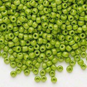 seed bead, dyna-mites™, glass, opaque lime green, #8 round. sold per 1/2 kilogram pkg.