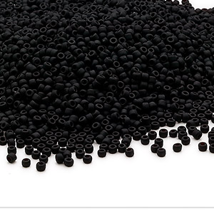 seed bead, dyna-mites™, glass, opaque matte black, #11 round. sold per 1/2 kilogram pkg.
