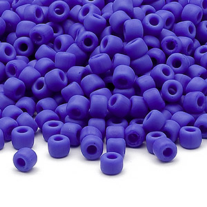seed bead, dyna-mites™, glass, opaque matte medium blue, #6 round. sold per 1/2 kilogram pkg.