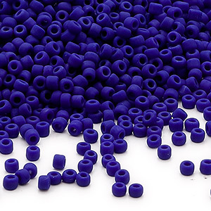 seed bead, dyna-mites™, glass, opaque matte navy blue, #11 round. sold per 1/2 kilogram pkg.