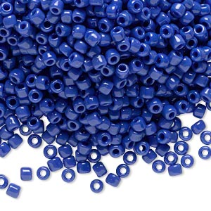 seed bead, dyna-mites™, glass, opaque medium blue, #8 round. sold per 40-gram pkg.