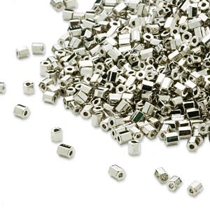 seed bead, dyna-mites™, glass, opaque nickel-finished, #11 hex 2-cut. sold per 40-gram pkg.