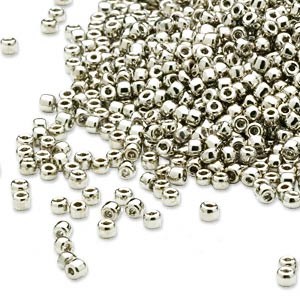 seed bead, dyna-mites™, glass, opaque nickel-finished, #11 round. sold per 1/2 kilogram pkg.
