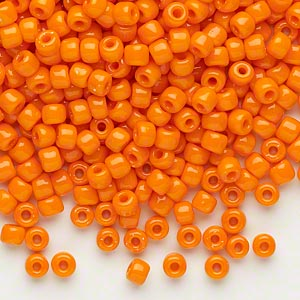 seed bead, dyna-mites™, glass, opaque orange, #6 round. sold per 1/2 kilogram pkg.