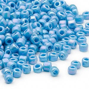 seed bead, dyna-mites™, glass, opaque rainbow turquoise blue, #6 round. sold per 40-gram pkg.