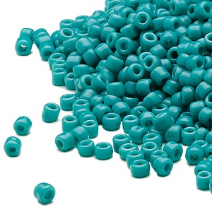seed bead, dyna-mites™, glass, opaque turquoise blue, #8 round. sold per 1/2 kilogram pkg.