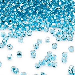seed bead, dyna-mites™, glass, silver-lined translucent aqua, #11 round with square hole. sold per 40-gram pkg.