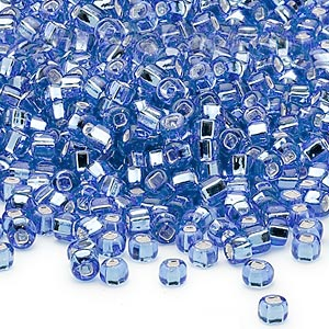 seed bead, dyna-mites™, glass, silver-lined translucent blue, #6 round with square hole. sold per 40-gram pkg.