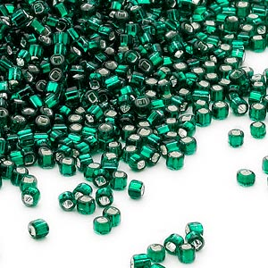 seed bead, dyna-mites™, glass, silver-lined translucent dark green, #11 round with square hole. sold per 40-gram pkg.
