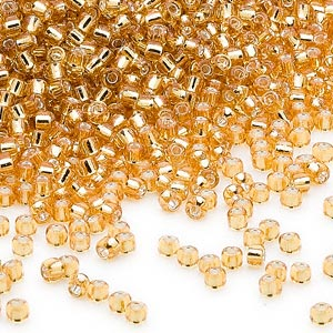 seed bead, dyna-mites™, glass, silver-lined translucent gold, #11 round. sold per 40-gram pkg.