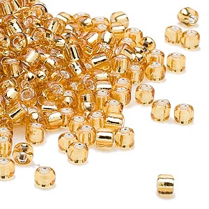 seed bead, dyna-mites™, glass, silver-lined translucent gold, #6 round. sold per 40-gram pkg.