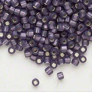 seed bead, dyna-mites™, glass, silver-lined translucent matte amethyst purple, #6 round with square hole. sold per 1/2 kilogram pkg.