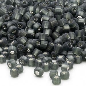 seed bead, dyna-mites™, glass, silver-lined translucent matte gunmetal, #6 round with square hole. sold per 40-gram pkg.