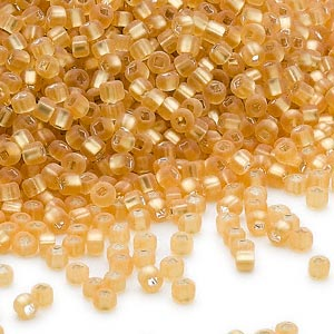 seed bead, dyna-mites™, glass, silver-lined translucent matte medium gold, #11 round with square hole. sold per 40-gram pkg.