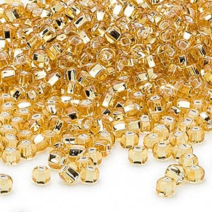 seed bead, dyna-mites™, glass, silver-lined translucent medium gold, #6 round with square hole. sold per 1/2 kilogram pkg.