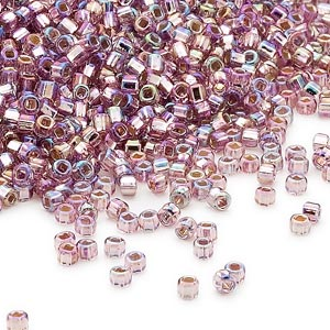 seed bead, dyna-mites™, glass, silver-lined translucent rainbow light purple, #11 round with square hole. sold per 1/2 kilogram pkg.