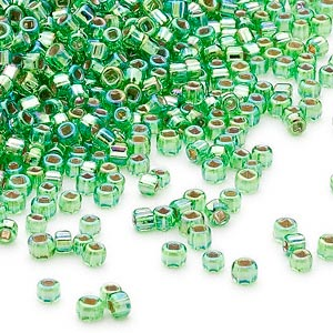 seed bead, dyna-mites™, glass, silver-lined translucent rainbow lime, #11 round with square hole. sold per 40-gram pkg.