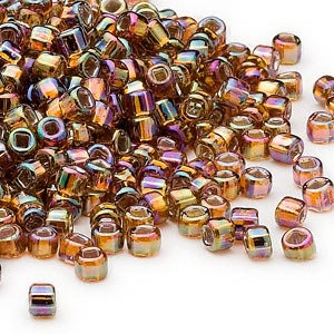 seed bead, dyna-mites™, glass, silver-lined translucent rainbow root beer, #6 round with square hole. sold per 40-gram pkg.