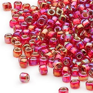 seed bead, dyna-mites™, glass, silver-lined translucent rainbow ruby red, #6 round with square hole. sold per 1/2 kilogram pkg.