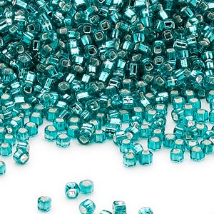 seed bead, dyna-mites™, glass, silver-lined translucent teal blue, #11 round with square hole. sold per 1/2 kilogram pkg.