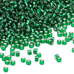 seed bead, dyna-mites™, glass, silver-lined transparent emerald green, #11 round. sold per 1/2 kilogram pkg.