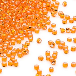seed bead, dyna-mites™, glass, silver-lined transparent orange, #11 round with square hole. sold per 1/2 kilogram pkg.