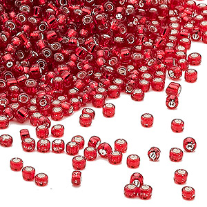 seed bead, dyna-mites™, glass, silver-lined transparent ruby, #11 round. sold per 40-gram pkg.