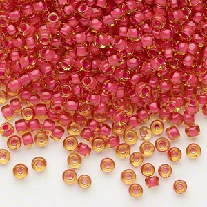 seed bead, dyna-mites™, glass, translucent inside color fuchsia, #8 round. sold per 1/2 kilogram pkg.
