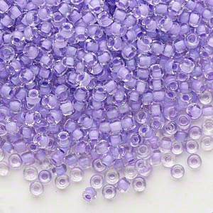 seed bead, dyna-mites™, glass, translucent inside color lilac, #8 round. sold per 1/2 kilogram pkg.