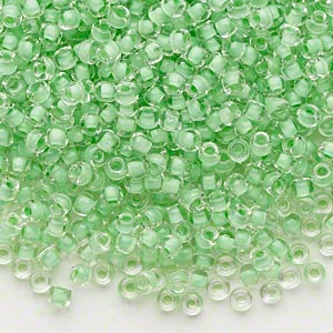 seed bead, dyna-mites™, glass, translucent inside color mint green, #8 round. sold per 40-gram pkg.