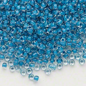 seed bead, dyna-mites™, glass, translucent inside color turquoise blue, #8 round. sold per 40-gram pkg.