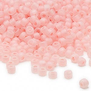 seed bead, dyna-mites™, glass, translucent matte inside color peppermint pink, #6 round. sold per 1/2 kilogram pkg.