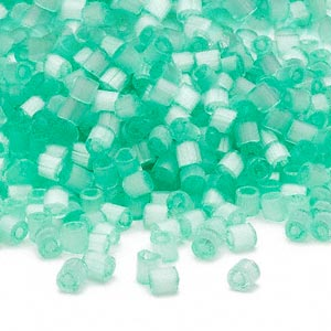 seed bead, dyna-mites™, glass, translucent silk mint green, #6 round. sold per 40-gram pkg.
