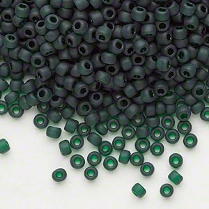 seed bead, dyna-mites™, glass, transparent dark green matte, #8 round. sold per 40-gram pkg.